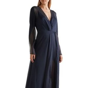 Halston Heritage Crinkled-chiffon wrap gown Size 4